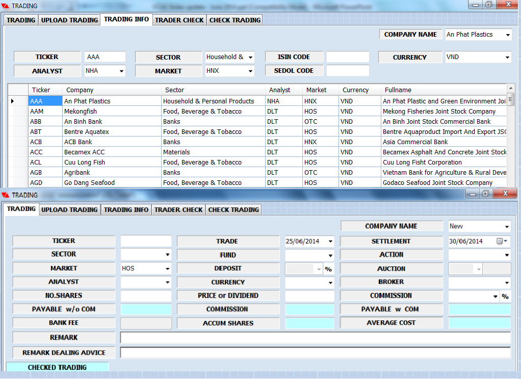 Trading system functionality
